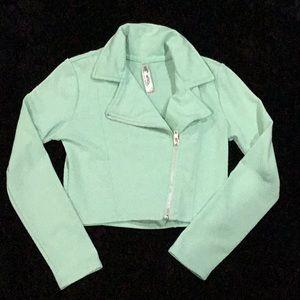 Teal crop jacket